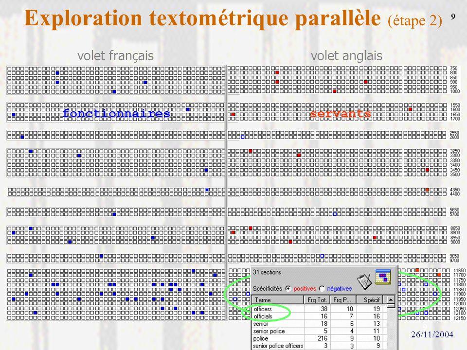 Exploration textométrique parallèle (étape 2)