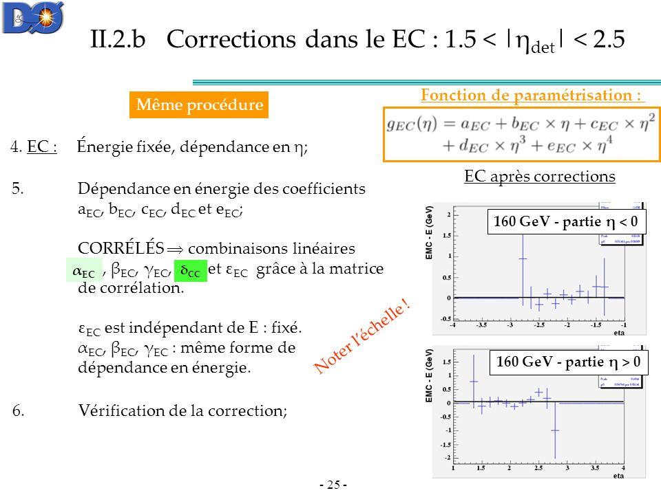 II.2.b Corrections dans le EC : 1.5 < |ηdet| < 2.5
