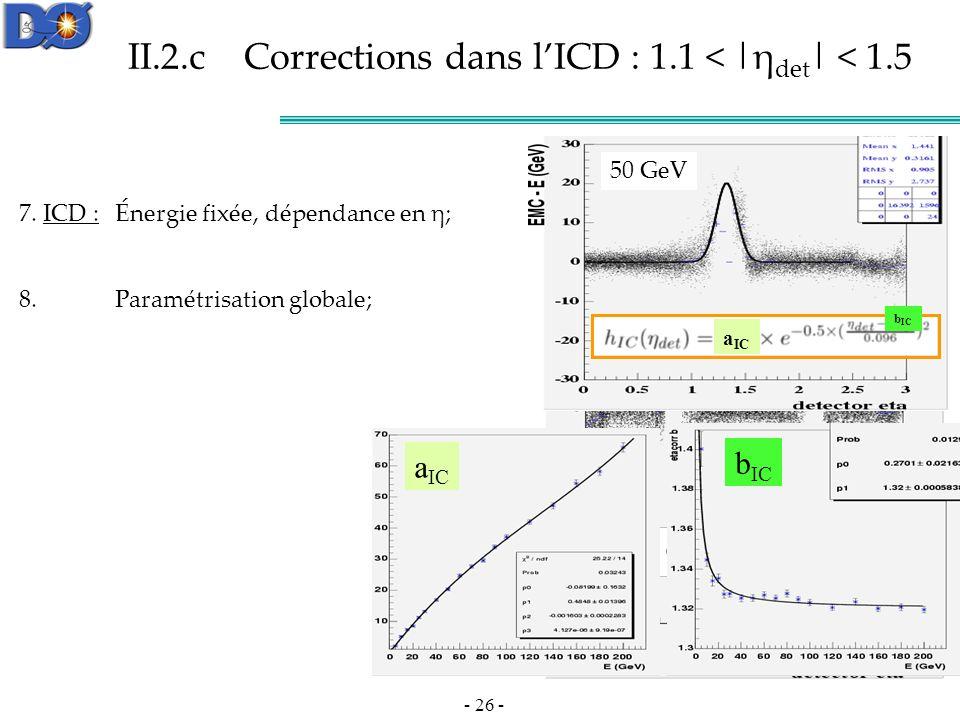 II.2.c Corrections dans l'ICD : 1.1 < |ηdet| < 1.5