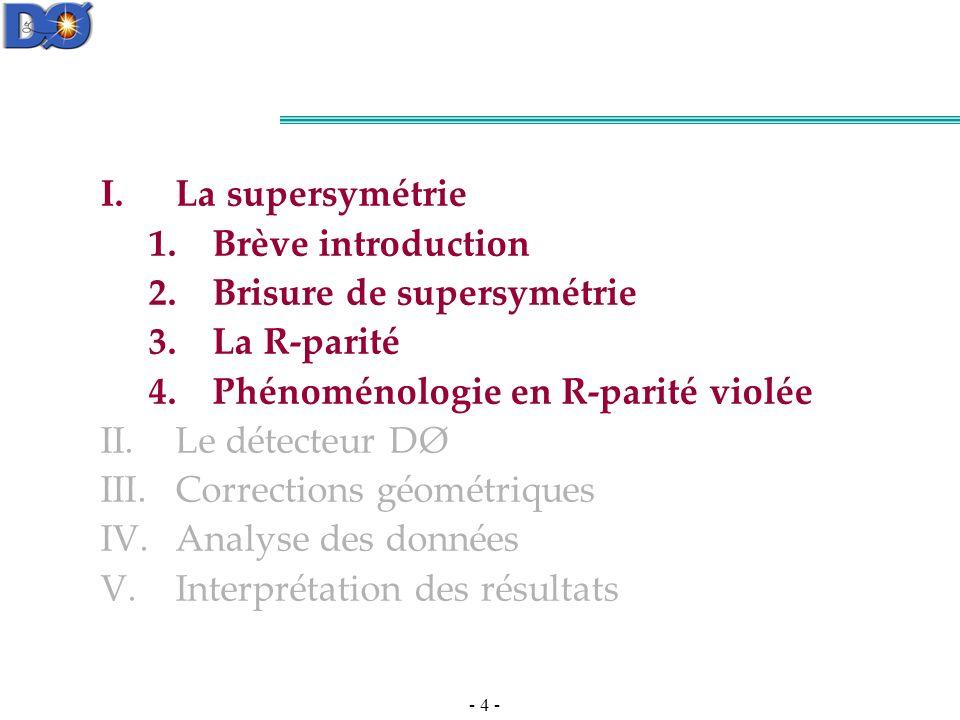 La supersymétrie Brève introduction. Brisure de supersymétrie. La R-parité. Phénoménologie en R-parité violée.
