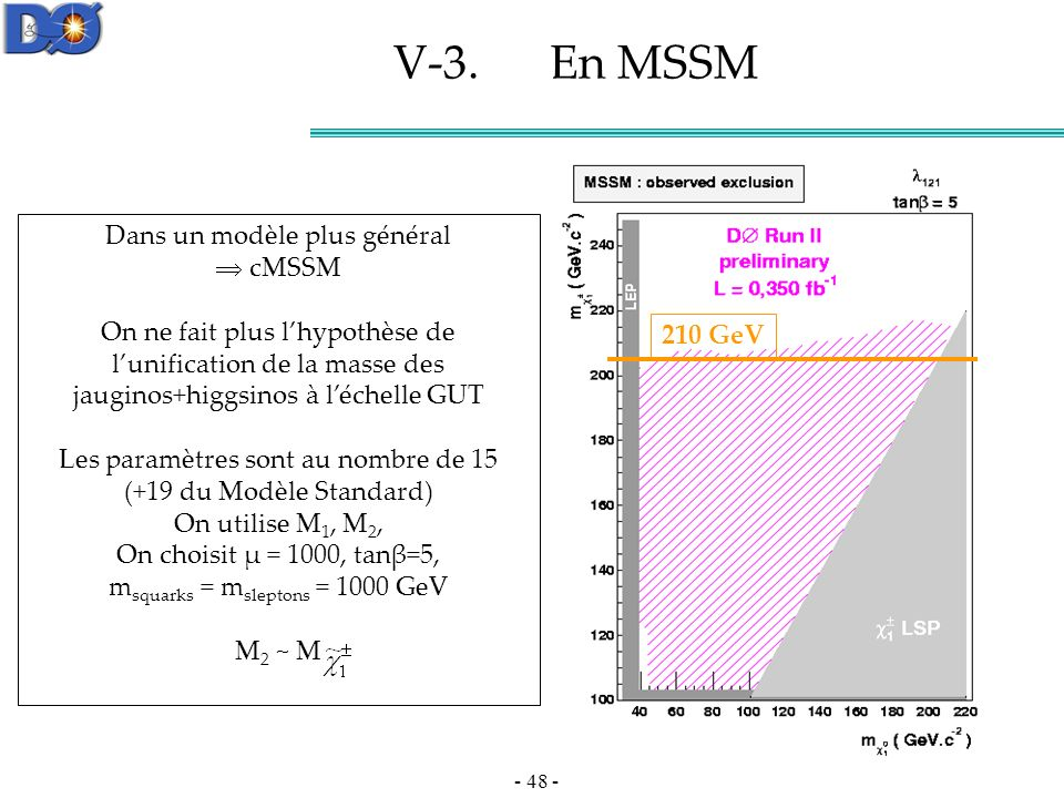 V-3. En MSSM Dans un modèle plus général  cMSSM