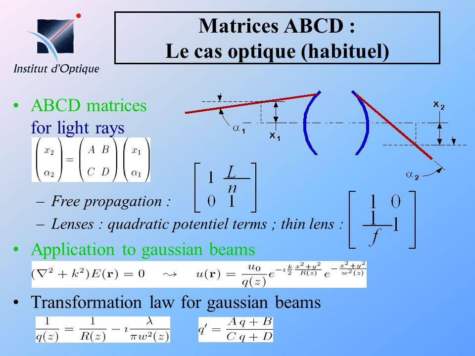 Matrices ABCD : Le cas optique (habituel)