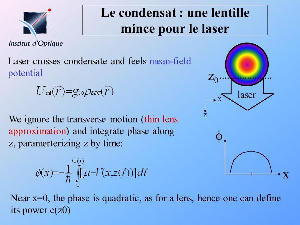 Le condensat : une lentille mince pour le laser