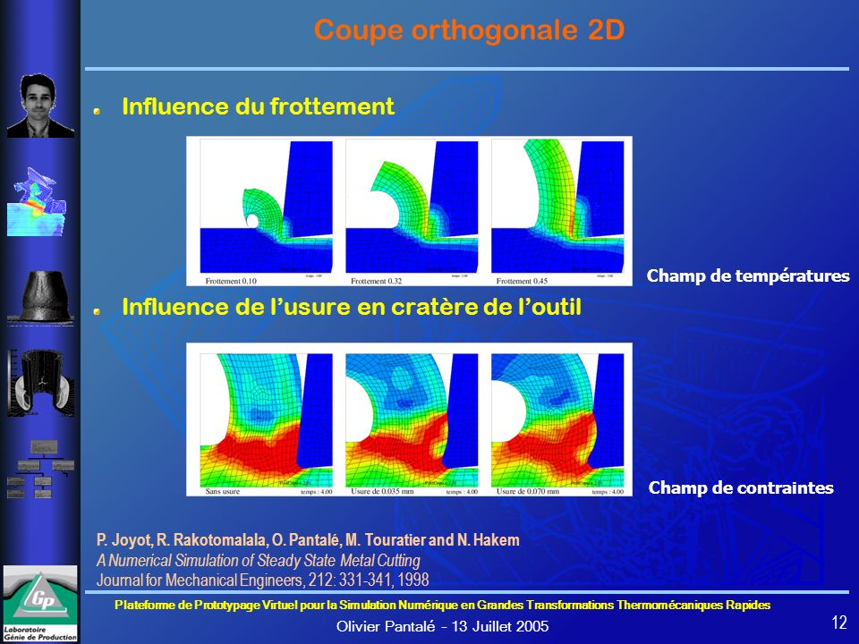 Coupe orthogonale 2D Influence du frottement