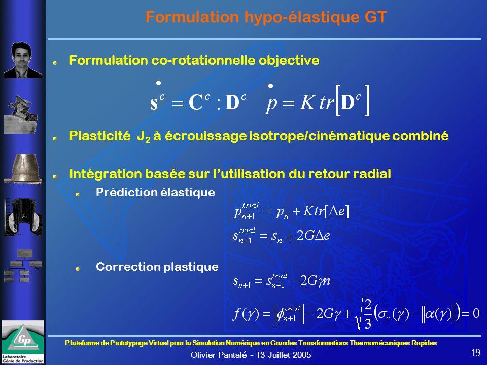 Formulation hypo-élastique GT