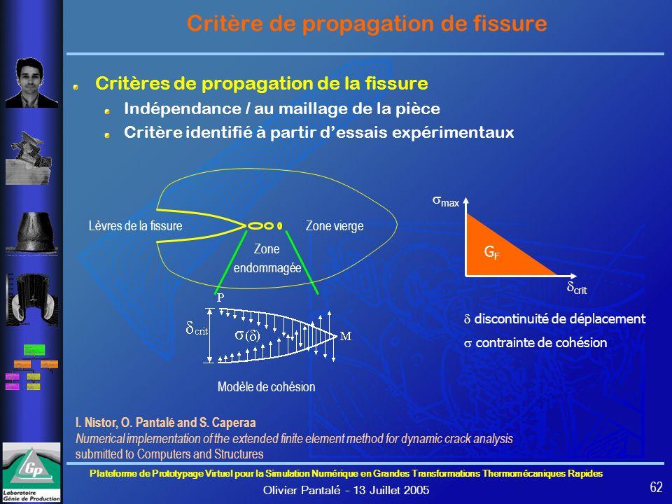 Critère de propagation de fissure