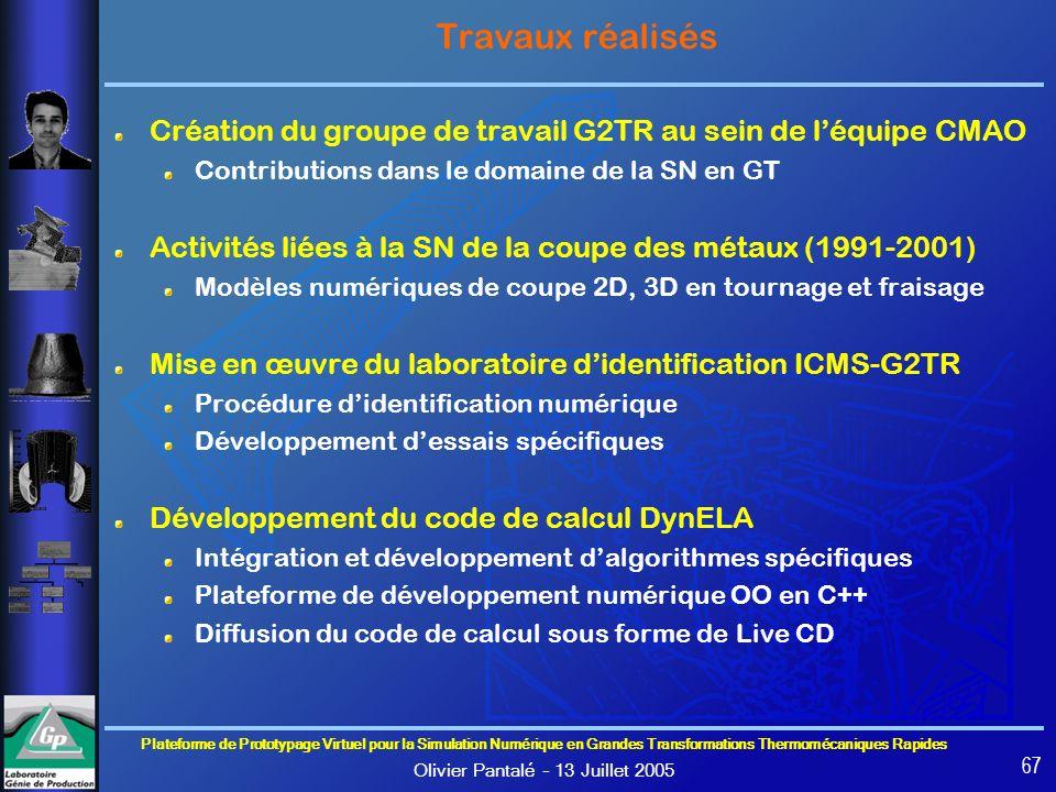 Travaux réalisés Création du groupe de travail G2TR au sein de l'équipe CMAO. Contributions dans le domaine de la SN en GT.