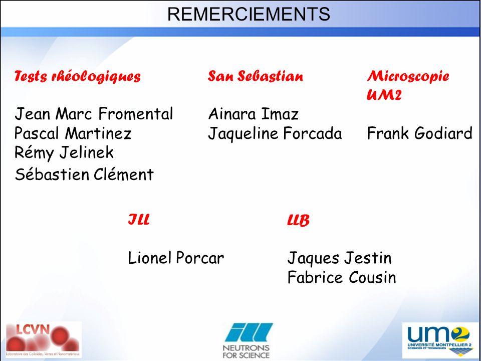 REMERCIEMENTS Tests rhéologiques Jean Marc Fromental Pascal Martinez