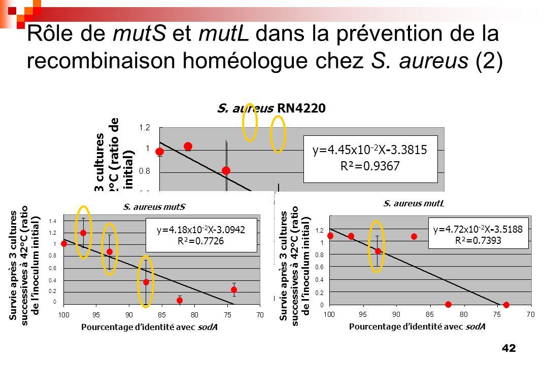 Rôle de mutS et mutL dans la prévention de la recombinaison homéologue chez S. aureus (2)
