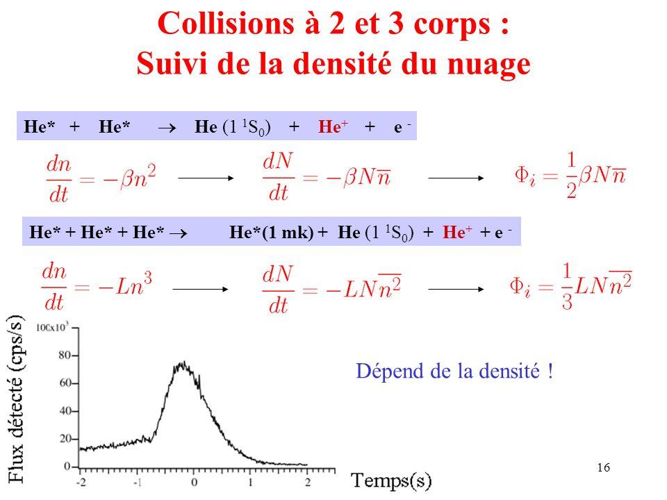 Collisions à 2 et 3 corps : Suivi de la densité du nuage