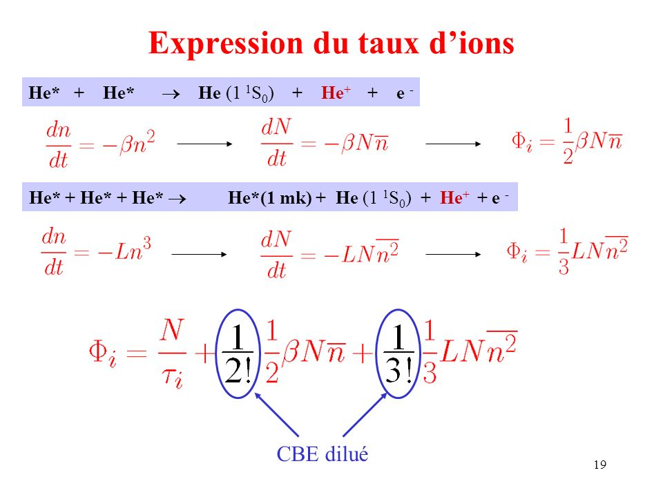 Expression du taux d'ions