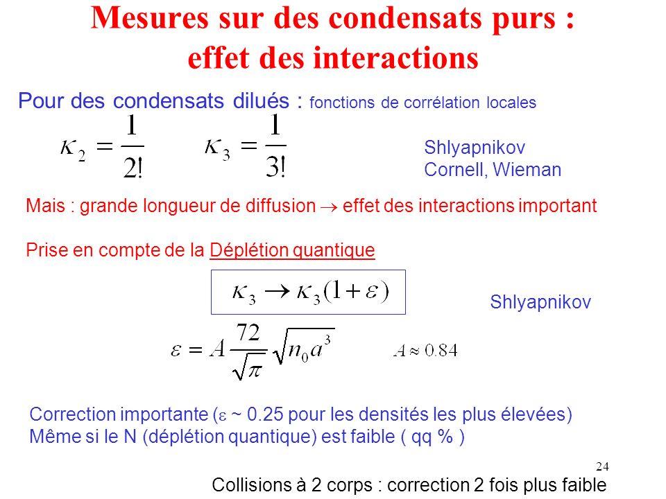Mesures sur des condensats purs : effet des interactions