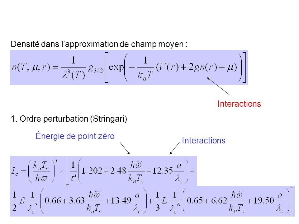 Densité dans l'approximation de champ moyen :