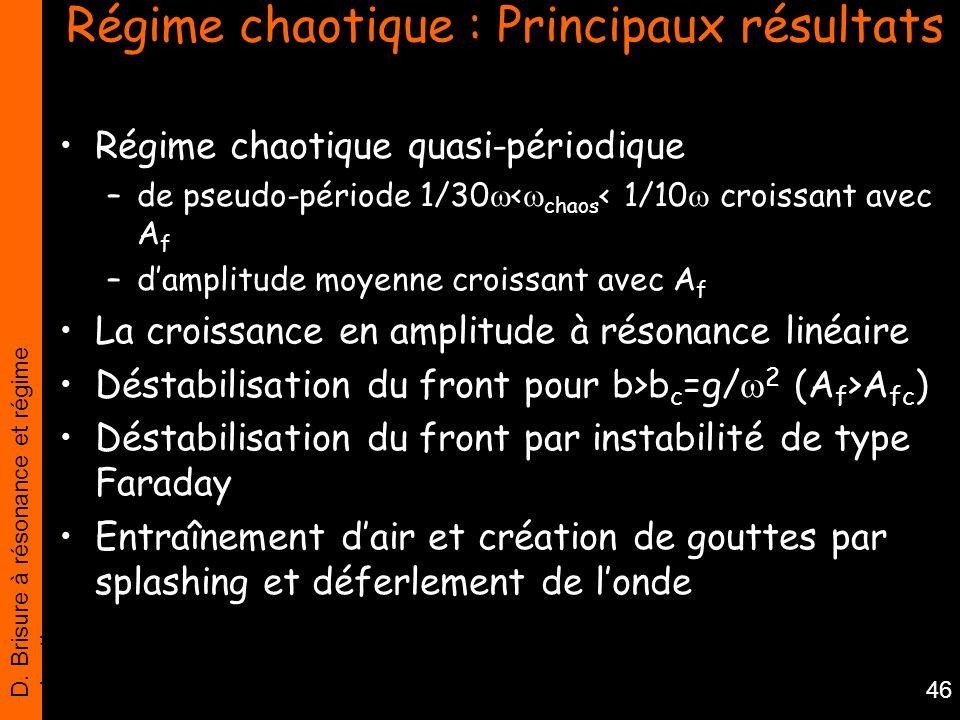 Régime chaotique : Principaux résultats