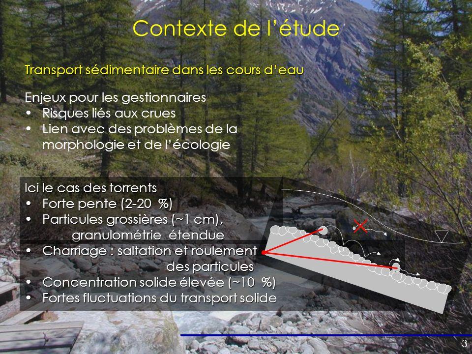 Contexte de l'étude Transport sédimentaire dans les cours d'eau