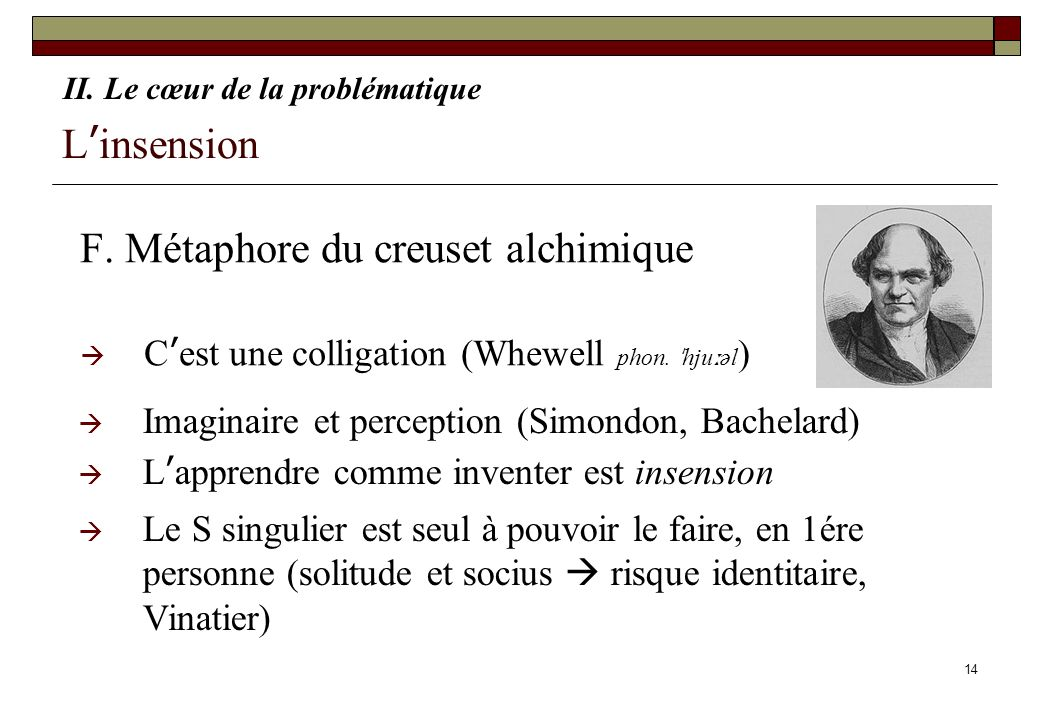 F. Métaphore du creuset alchimique