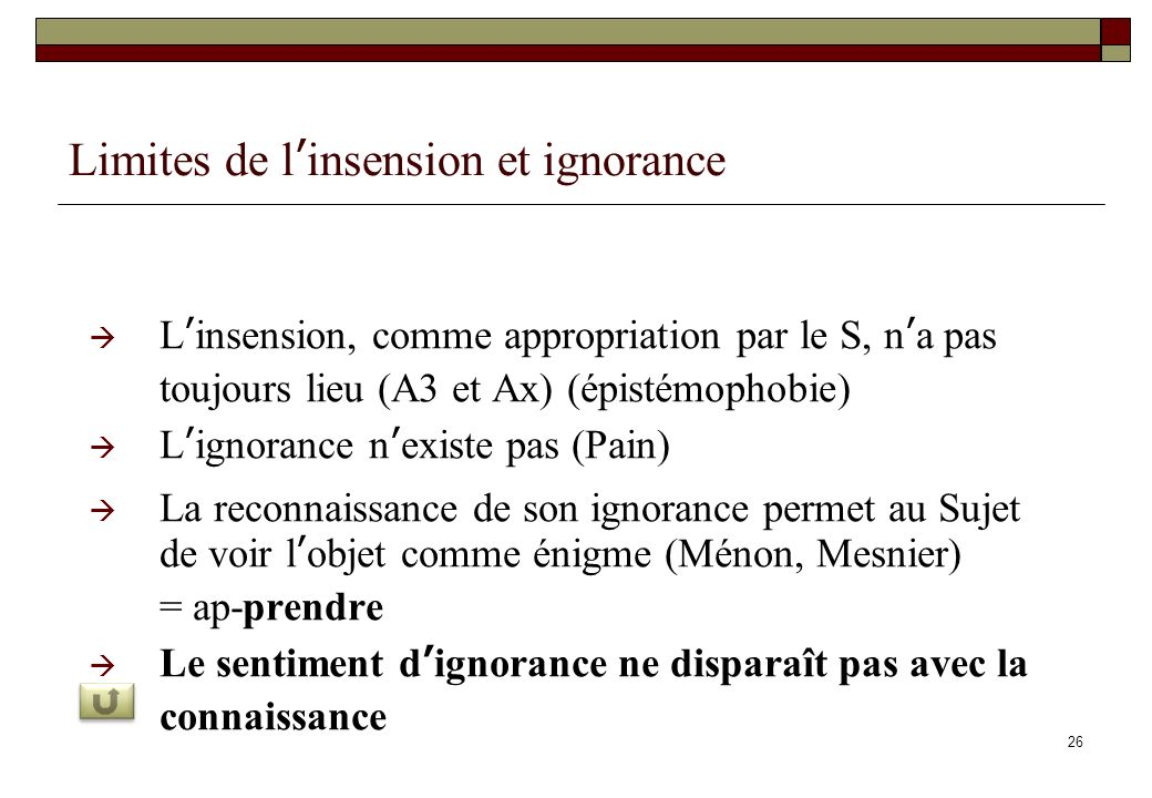 Limites de l'insension et ignorance