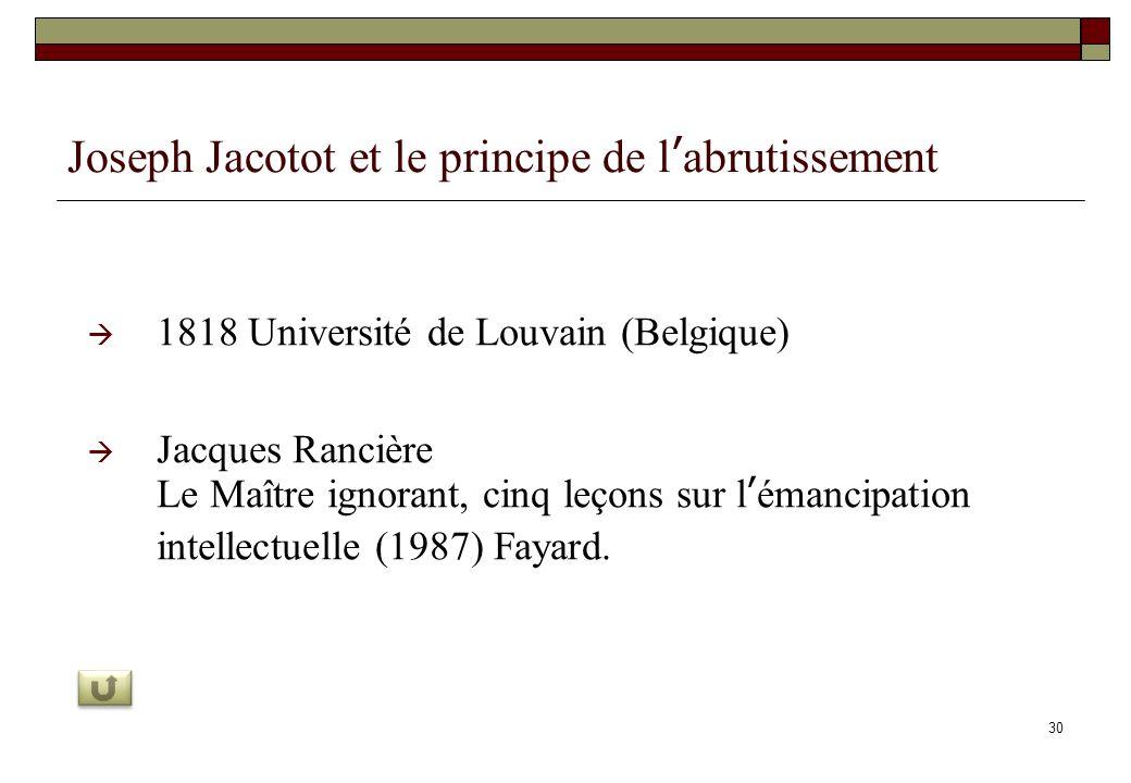 Joseph Jacotot et le principe de l'abrutissement