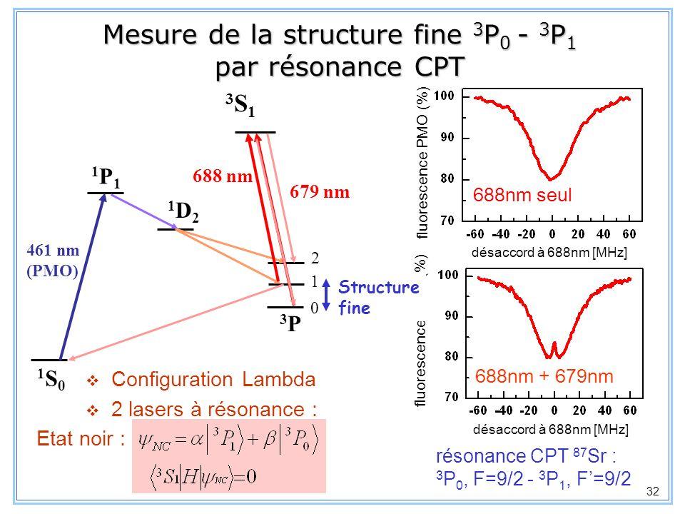 Mesure de la structure fine 3P0 - 3P1 par résonance CPT