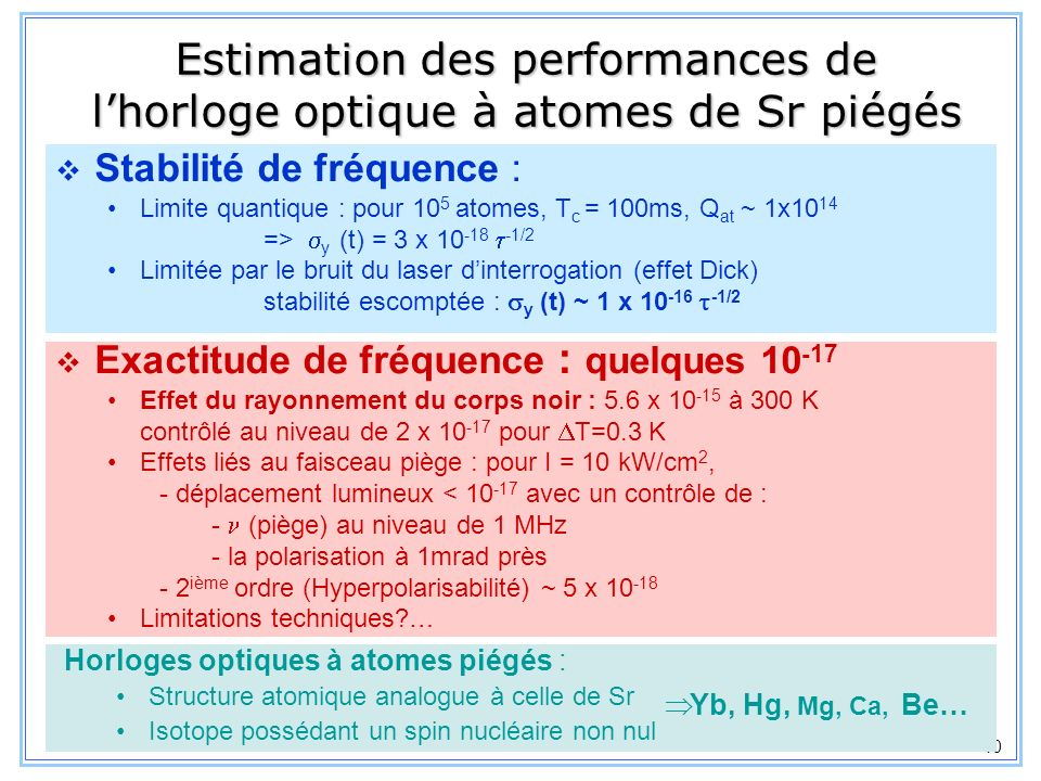 Estimation des performances de l'horloge optique à atomes de Sr piégés