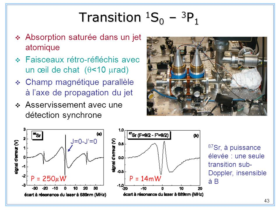 Transition 1S0 – 3P1 Absorption saturée dans un jet atomique