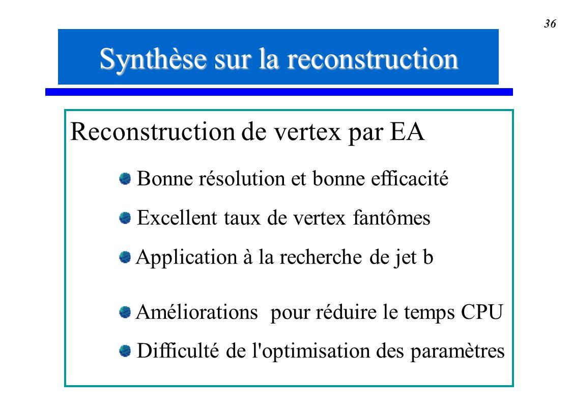 Synthèse sur la reconstruction