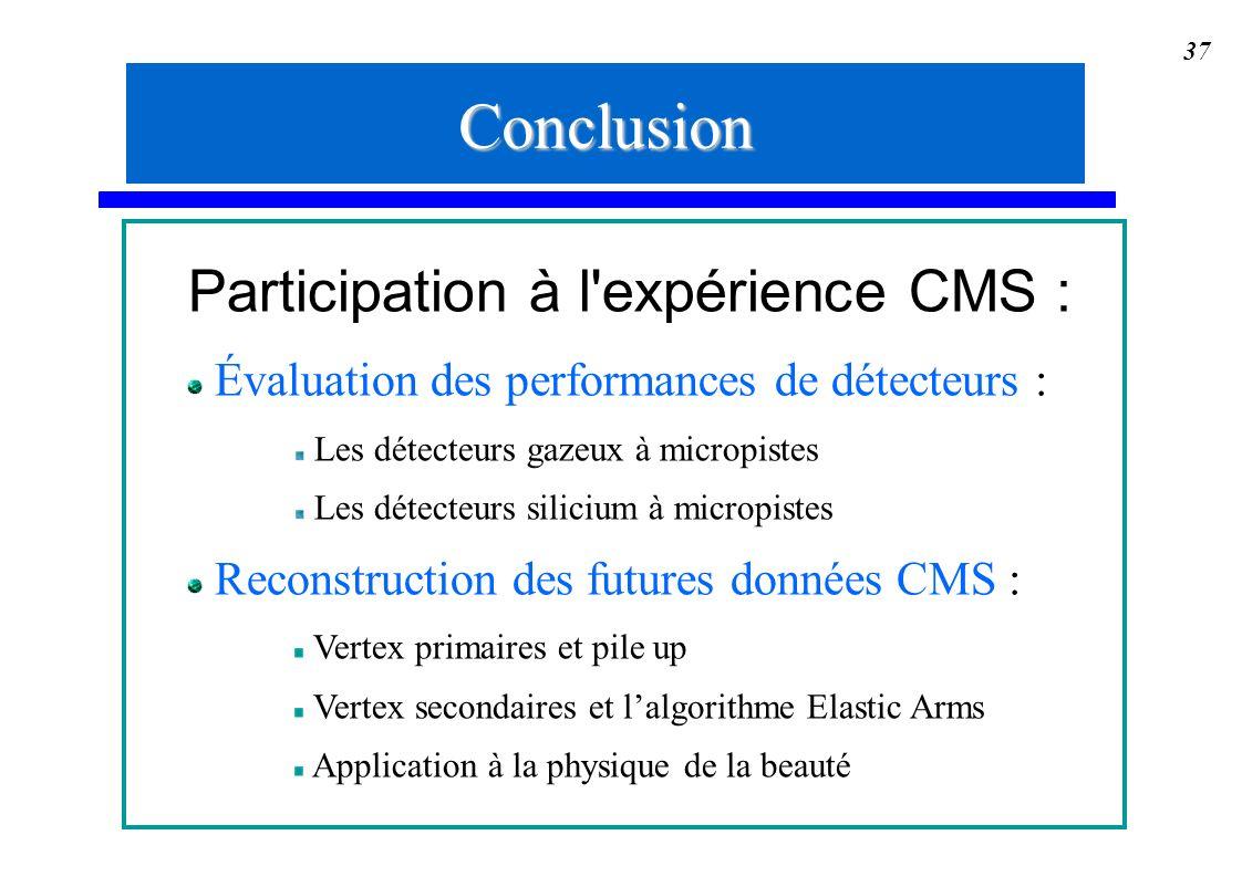 Conclusion Participation à l expérience CMS :
