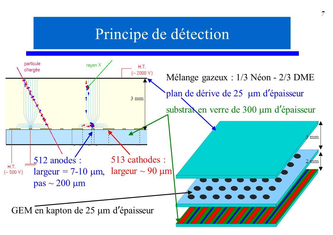 Principe de détection Mélange gazeux : 1/3 Néon - 2/3 DME