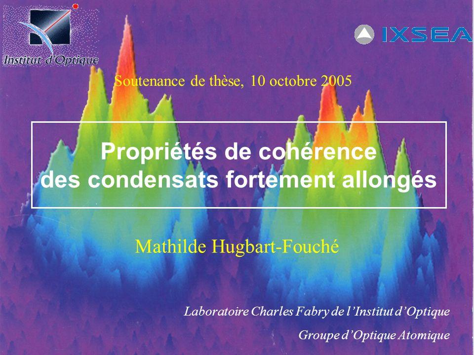 Propriétés de cohérence des condensats fortement allongés