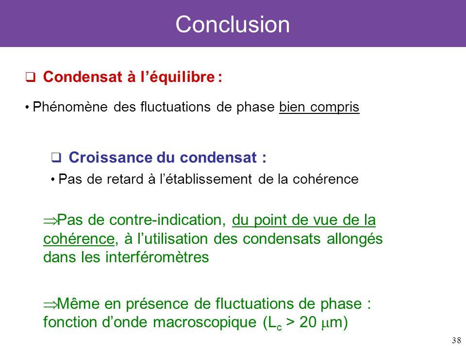 Conclusion Condensat à l'équilibre : Phénomène des fluctuations de phase bien compris. Croissance du condensat :