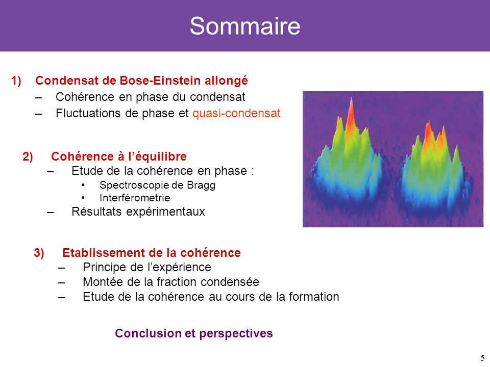 Sommaire Condensat de Bose-Einstein allongé