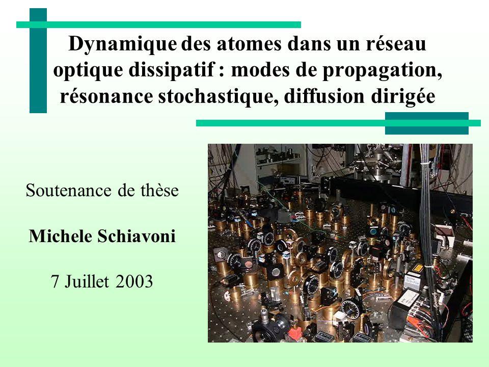 Dynamique des atomes dans un réseau optique dissipatif : modes de propagation, résonance stochastique, diffusion dirigée