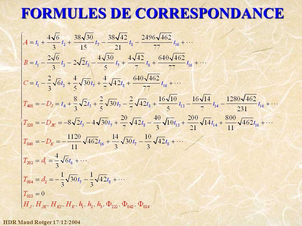 FORMULES DE CORRESPONDANCE