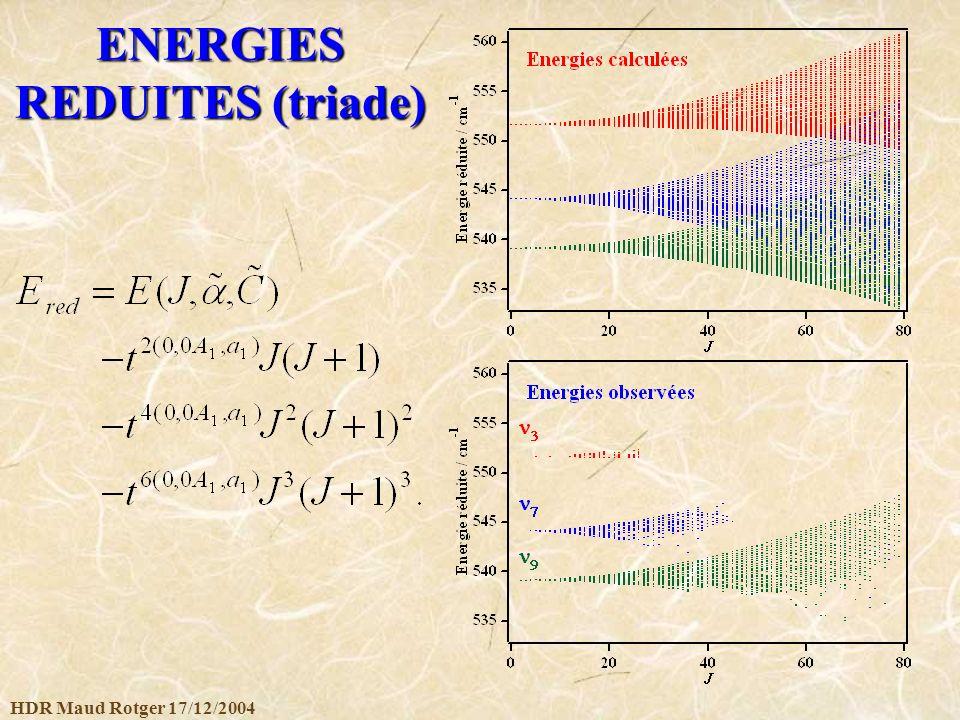 ENERGIES REDUITES (triade)
