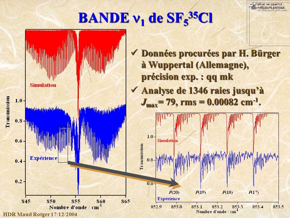 BANDE n1 de SF535Cl Données procurées par H. Bürger à Wuppertal (Allemagne), précision exp. : qq mk.