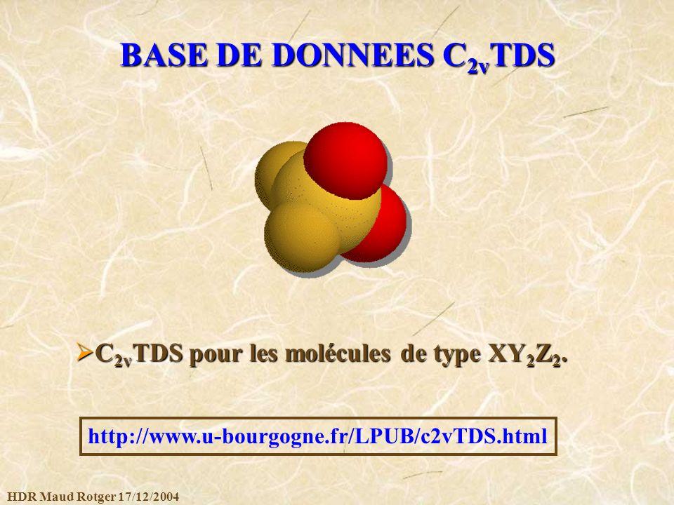 BASE DE DONNEES C2vTDS C2vTDS pour les molécules de type XY2Z2.