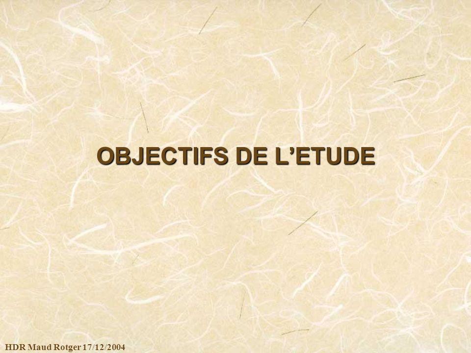 OBJECTIFS DE L'ETUDE HDR Maud Rotger 17/12/2004