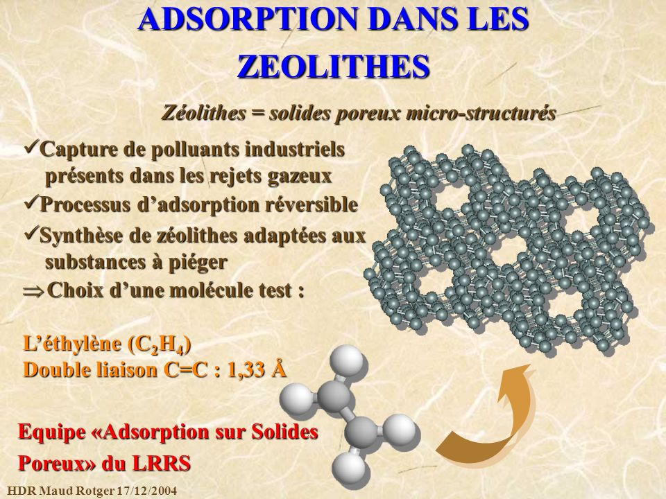 ADSORPTION DANS LES ZEOLITHES