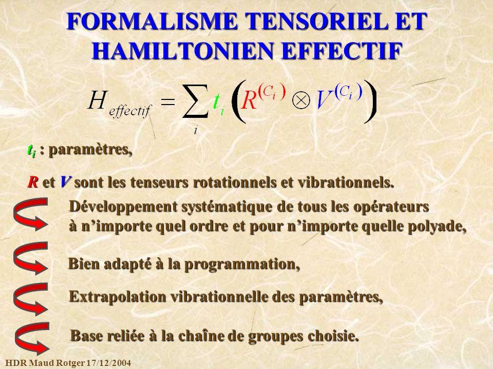 FORMALISME TENSORIEL ET HAMILTONIEN EFFECTIF