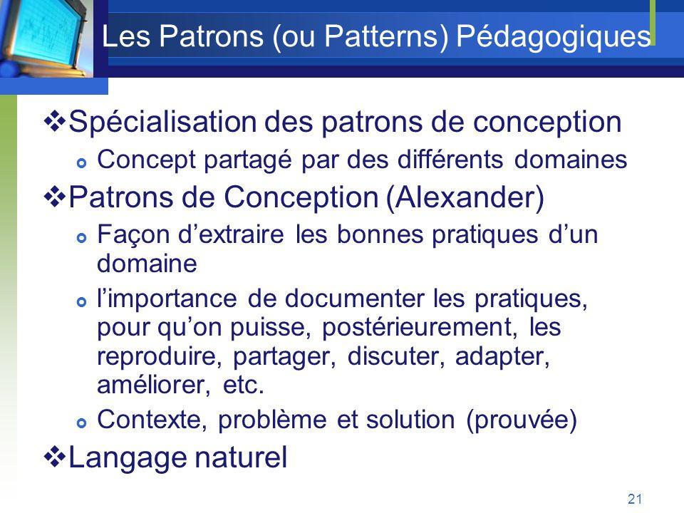 Les Patrons (ou Patterns) Pédagogiques