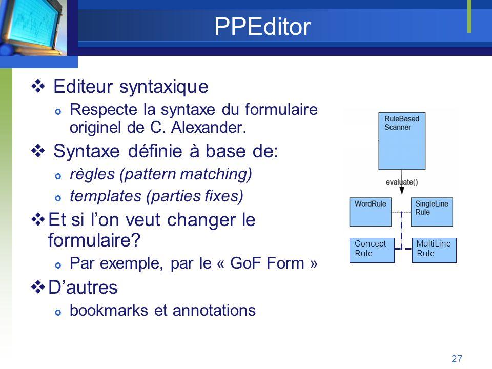 PPEditor Editeur syntaxique Syntaxe définie à base de: