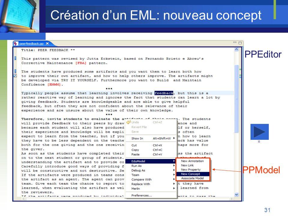 Création d'un EML: nouveau concept