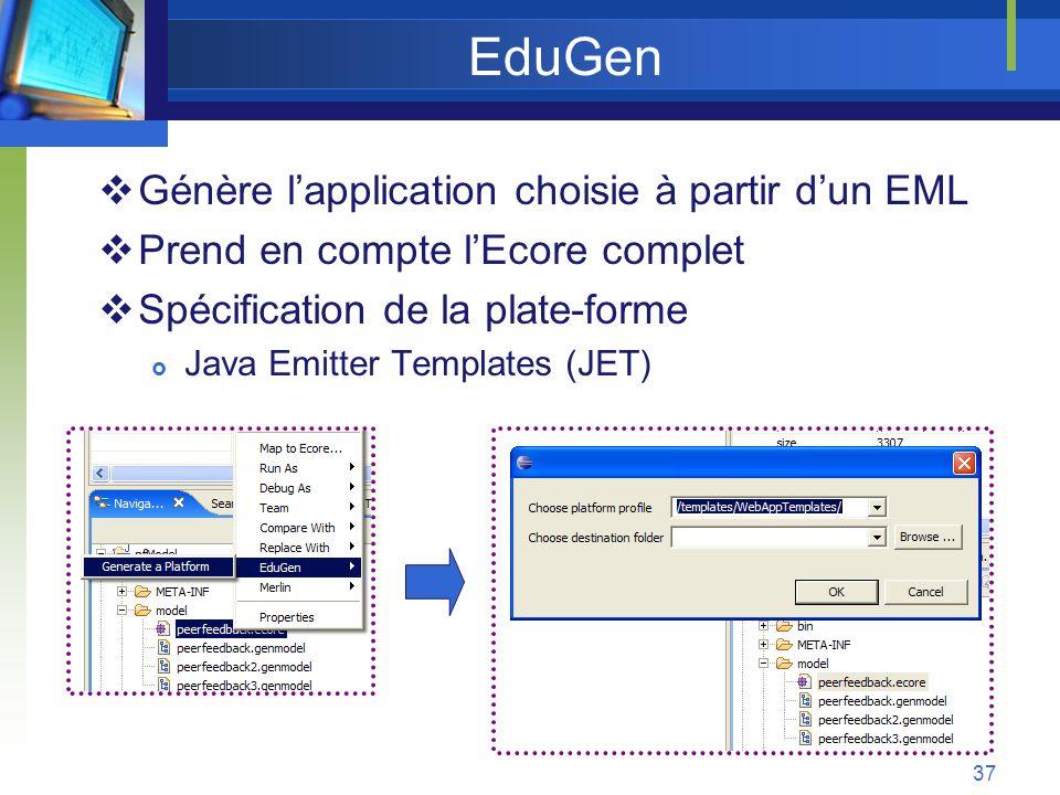 EduGen Génère l'application choisie à partir d'un EML