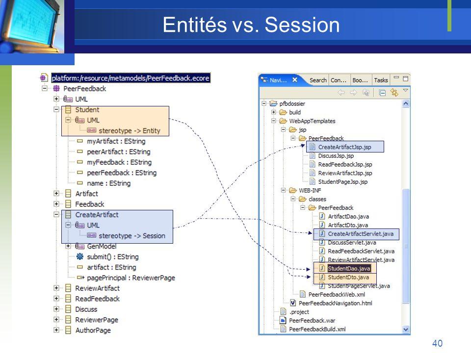 Entités vs. Session