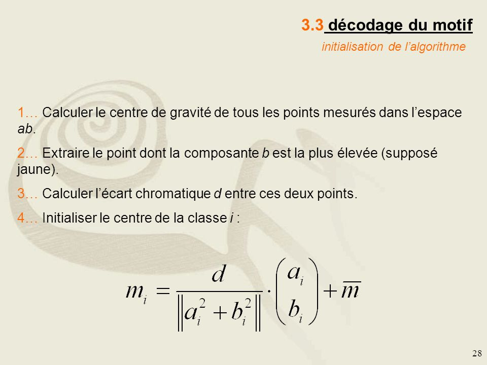 3.3 décodage du motif initialisation de l'algorithme. 1… Calculer le centre de gravité de tous les points mesurés dans l'espace ab.