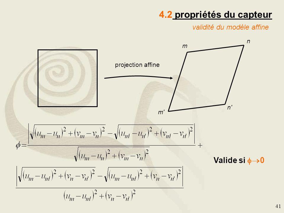 4.2 propriétés du capteur Valide si 0 validité du modèle affine n m