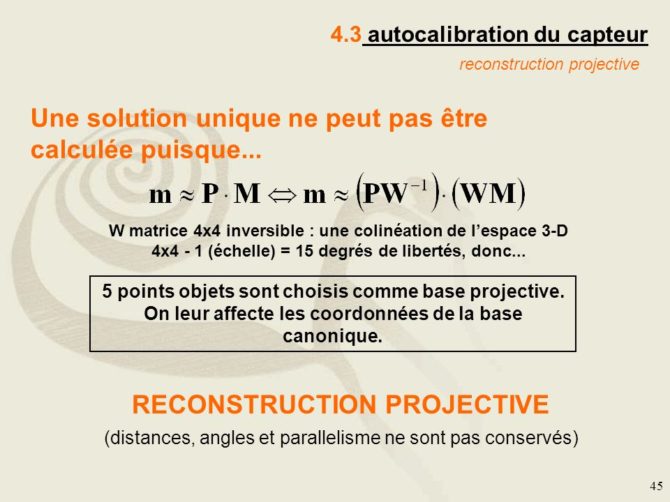 RECONSTRUCTION PROJECTIVE