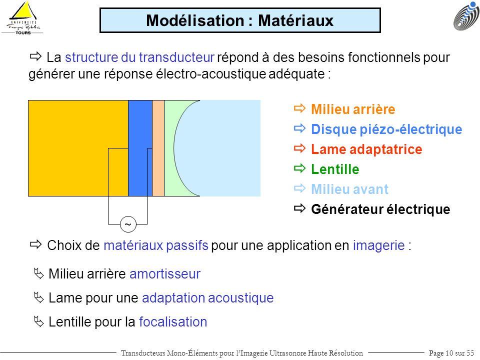 Modélisation : Matériaux