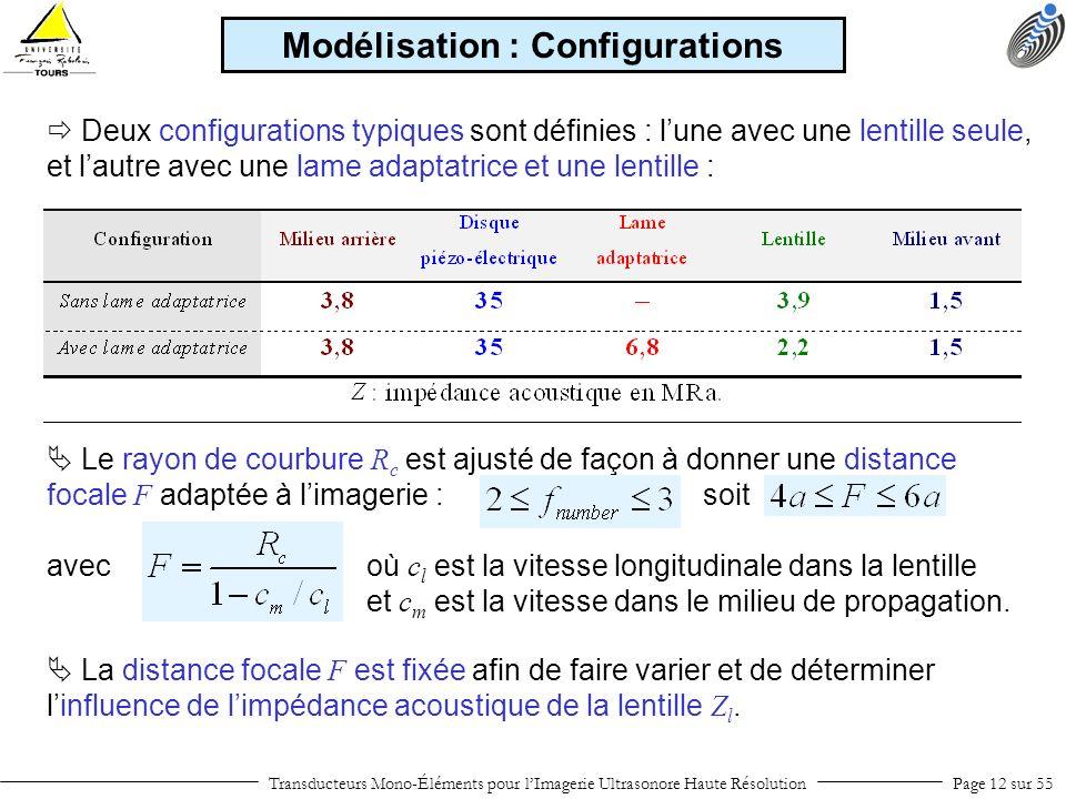 Modélisation : Configurations