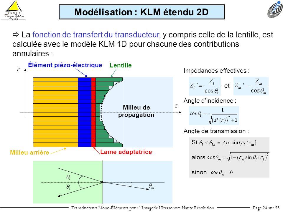 Modélisation : KLM étendu 2D